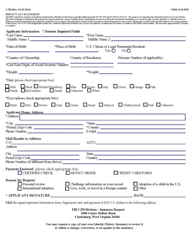 application information form