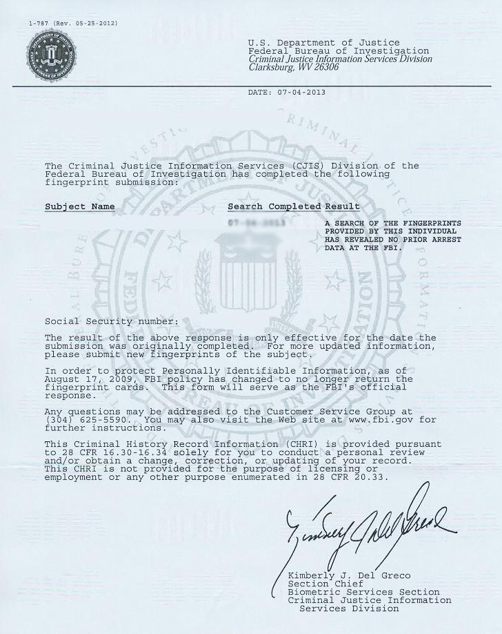 fbi police clearance sample